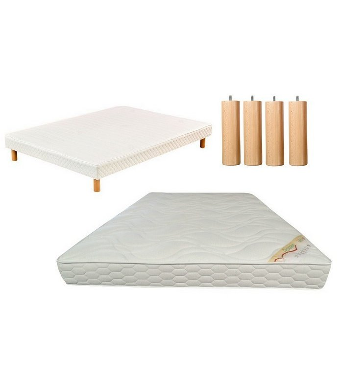 ensemble literie 140x190 matelas mousse sommier blanc. Black Bedroom Furniture Sets. Home Design Ideas